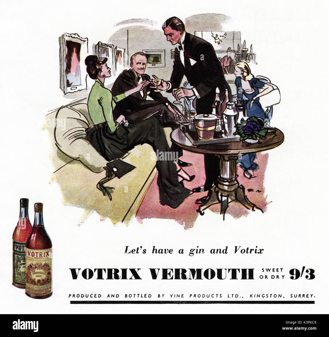 1940s old vintage original advert advertising Votrix Vermouth in magazine circa 1947 when supplies were still restricted under post-war rationing - Stock Image