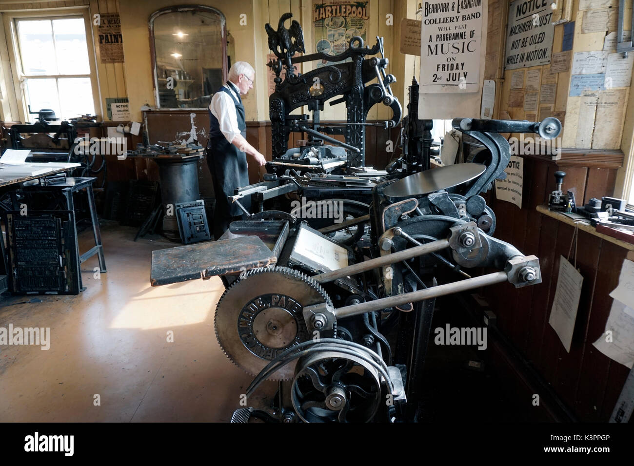 older male printer operating vintage printing press with vintage platen press in foreground - Stock Image