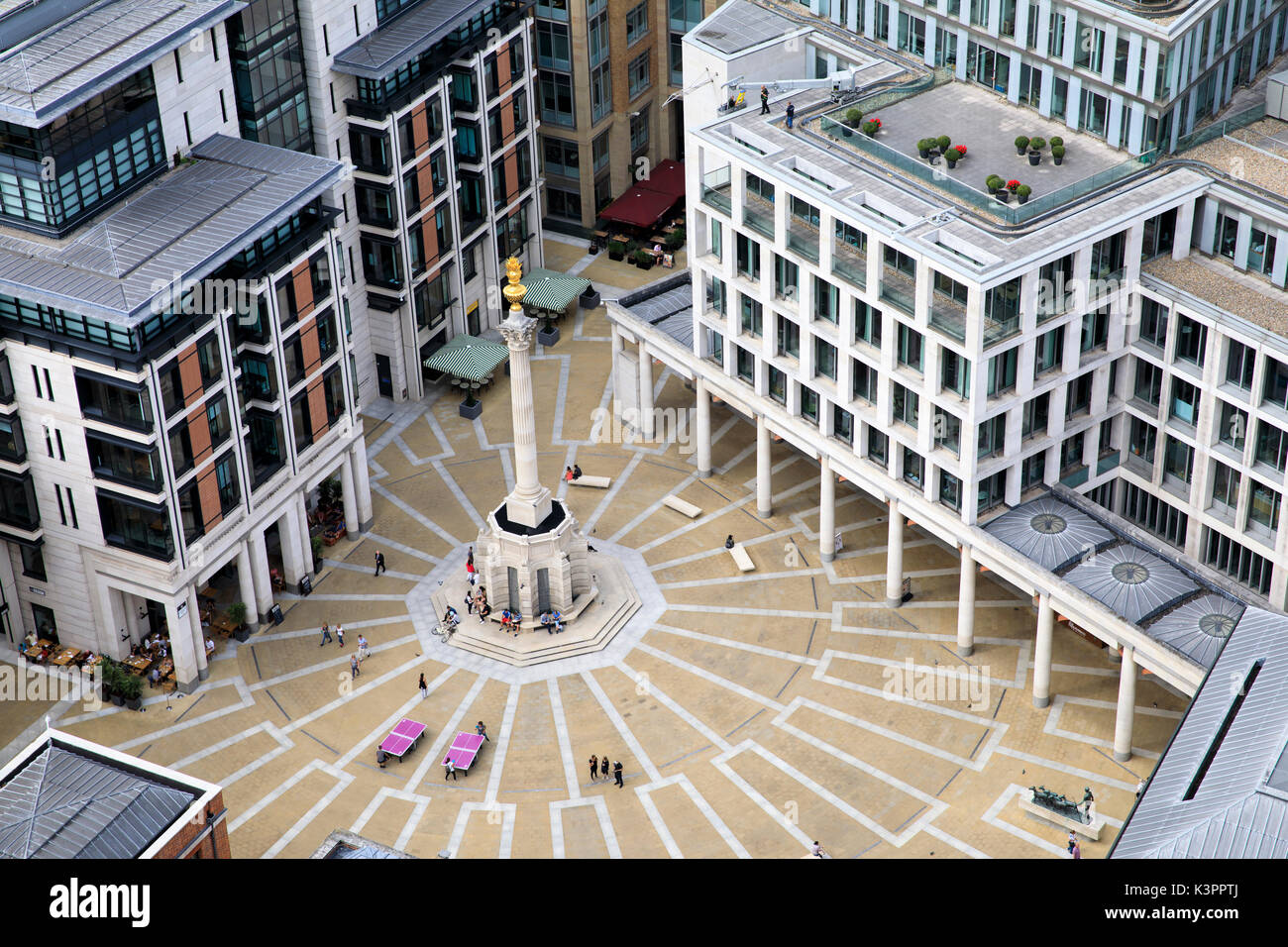 Paternoster Square in London, as seen from the top of St. Paul's Cathedral. - Stock Image