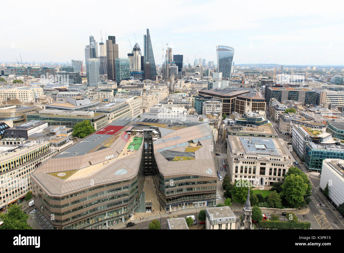 View of the City of London, as seen from the Golden Gallery of St. Paul's Cathedral. - Stock Image