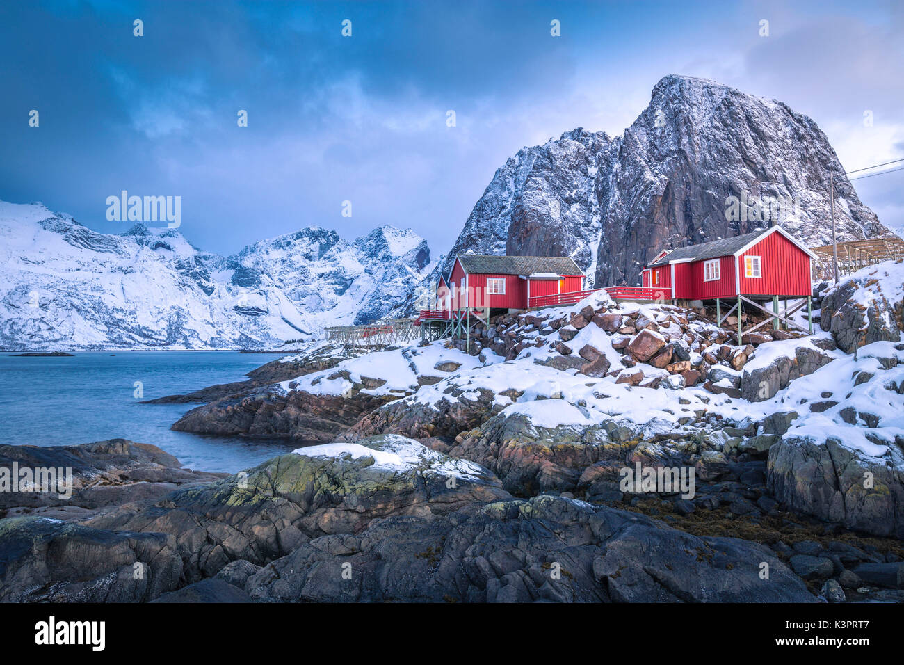 Beautiful and iconic Hamnoy village, Lofoten Islands, Norway - Stock Image