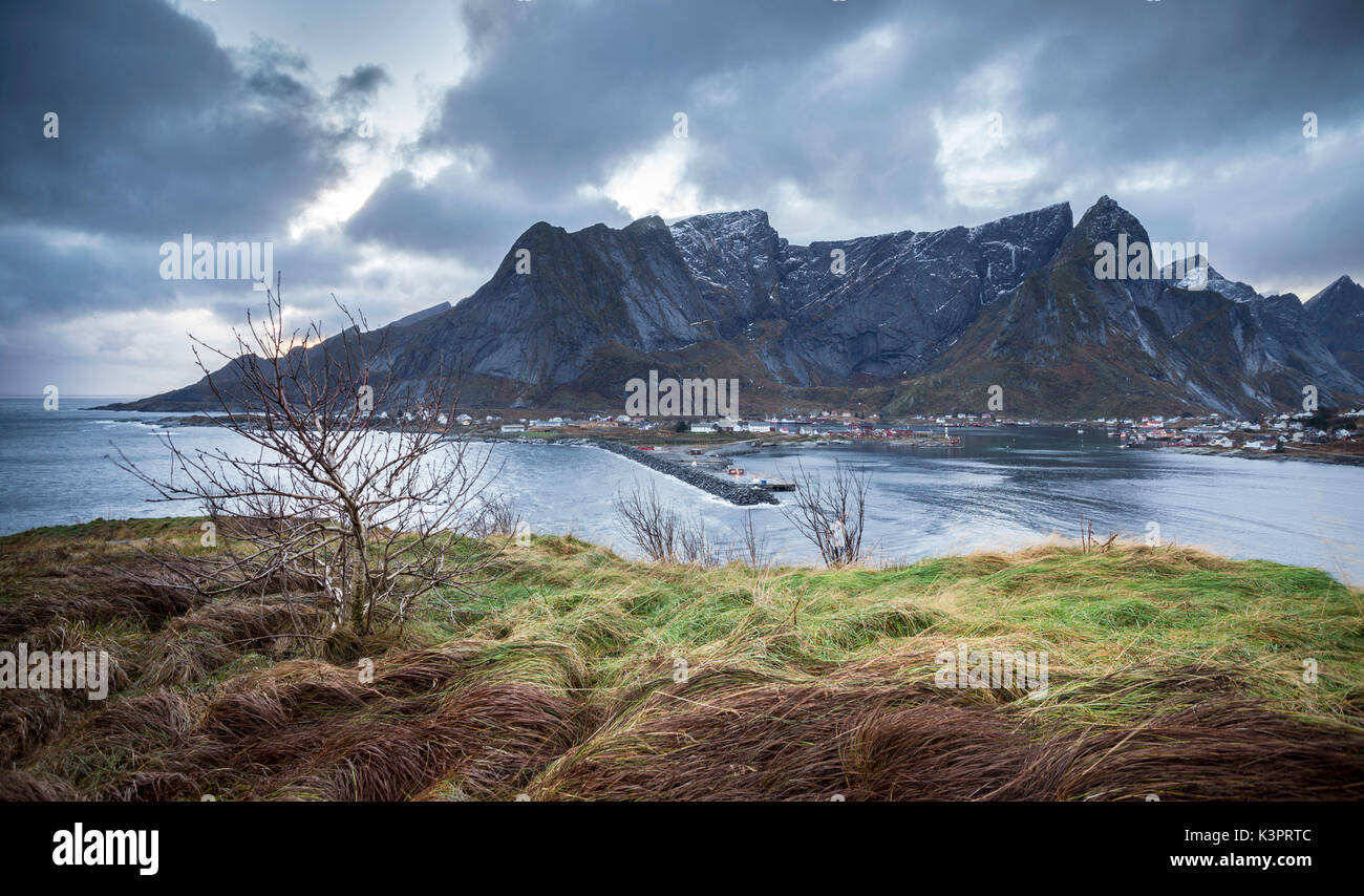 A view of Reine Bay during evening, Lofoten Islands, Northern Norway - Stock Image