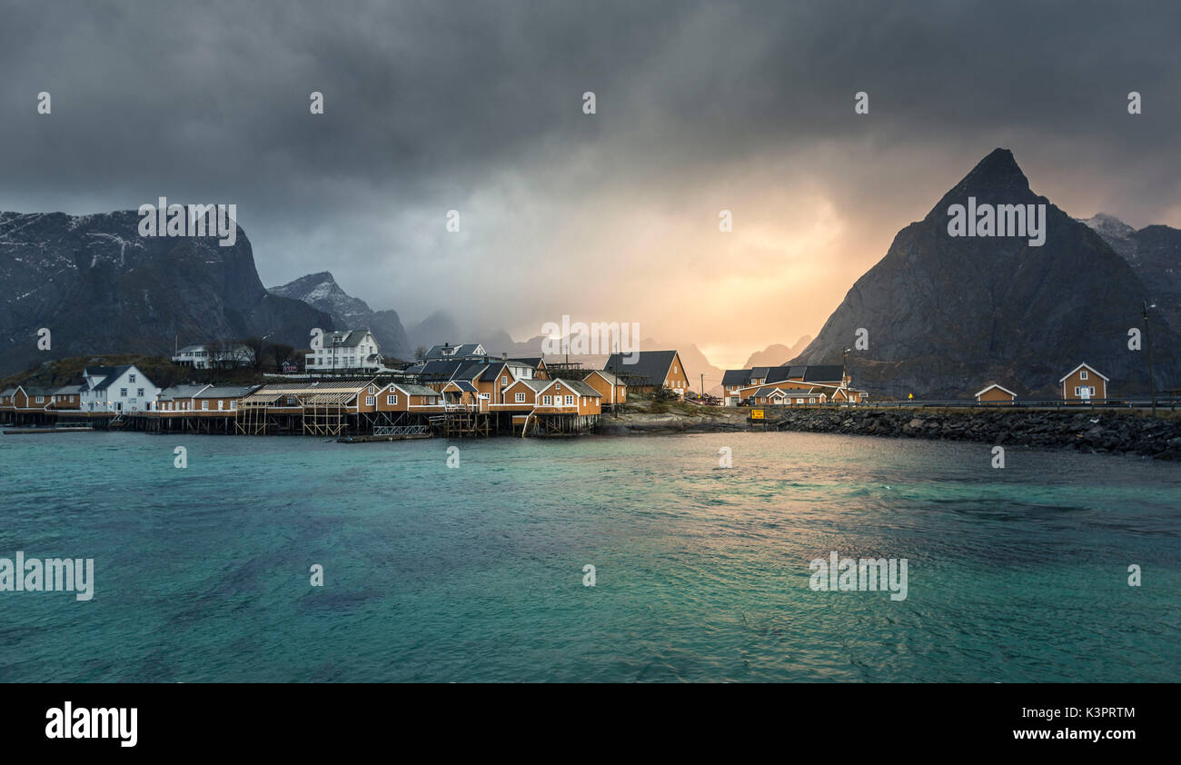 Sakrisoy village, Lofoten Islands, Norway - Stock Image