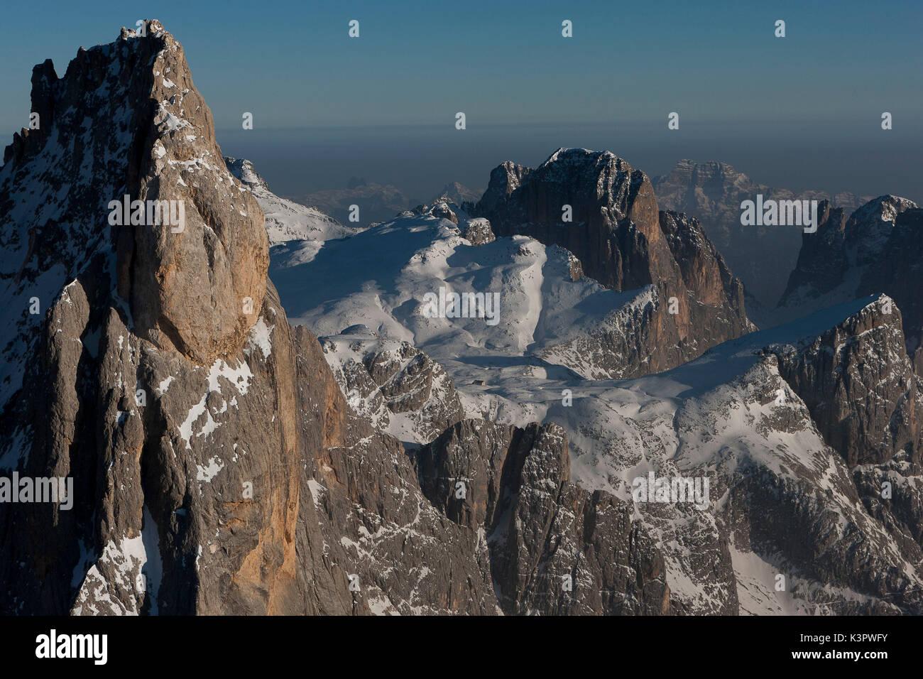 Aerial view of Cimon della Pala peak. Paneveggio natural park, Pale di San Martino groups, Dolomites. Trento province, Stock Photo