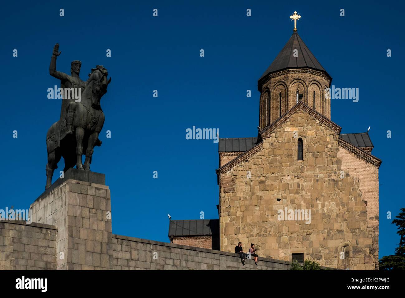 The equestrian statue of King Vakhtang Gorgasali near the Methehi church, Tbilisi, Georgia, Caucaus, Eurasia. Stock Photo