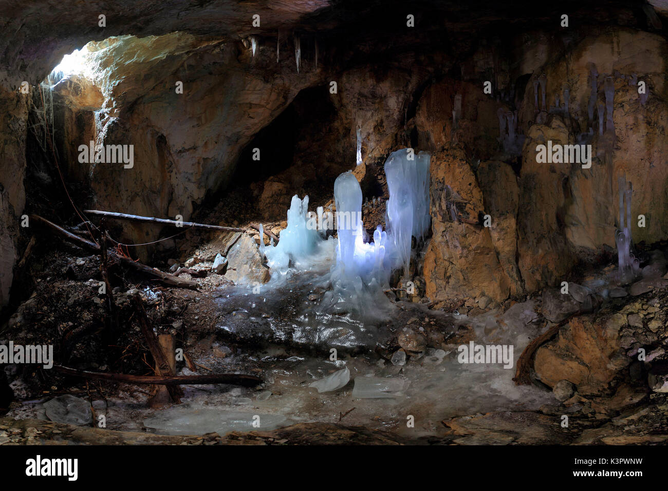 Full panoramic inside the Moncodeno Cave with its peculiar ice sculptures, Grigna Settentrionale, Province of Lecco, Lombardy, Italy - Stock Image