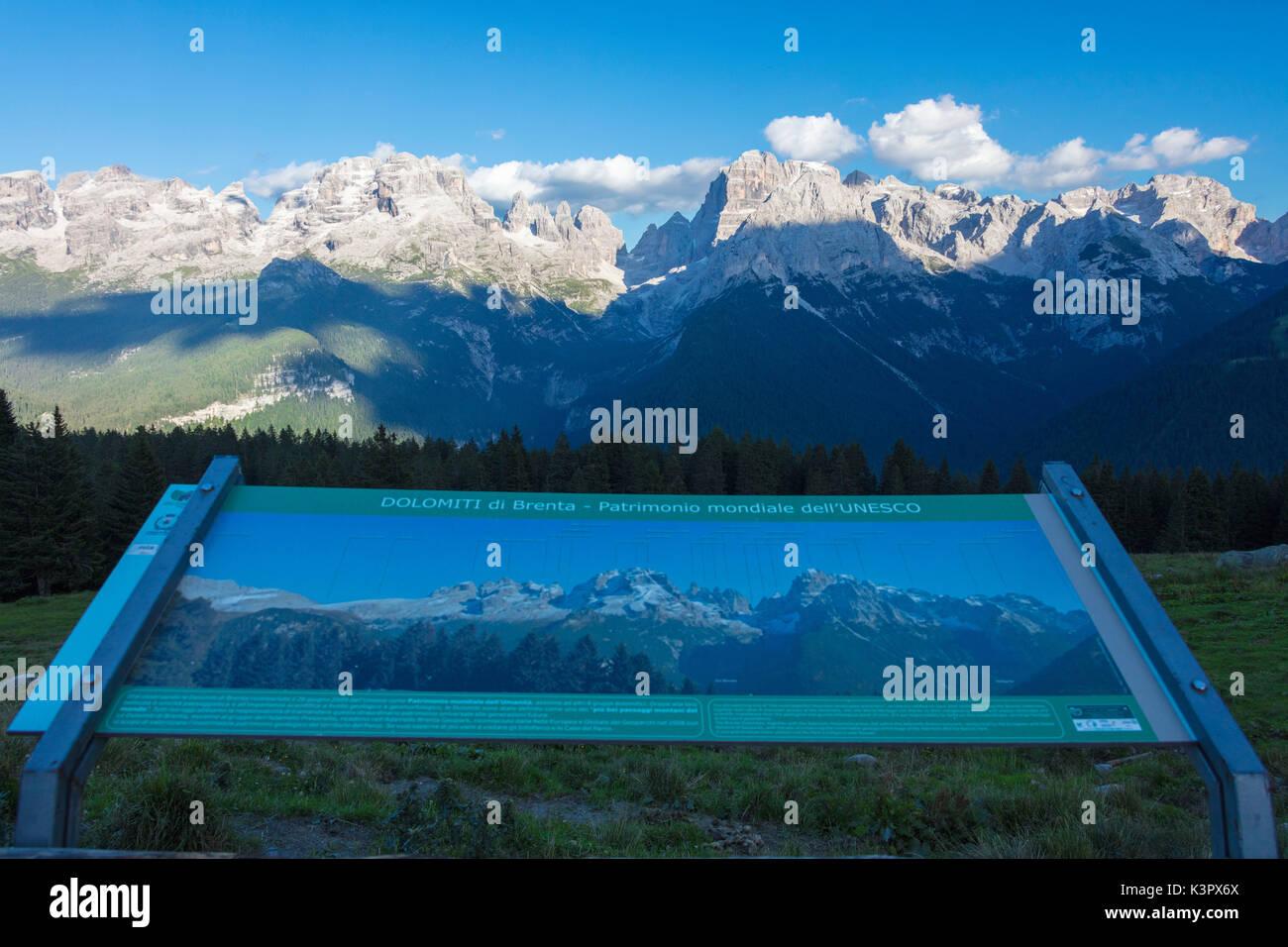 View of the high rocky peaks from Malga Ritorto Madonna di Campiglio Brenta Dolomites Trentino Alto Adige Italy Europe - Stock Image