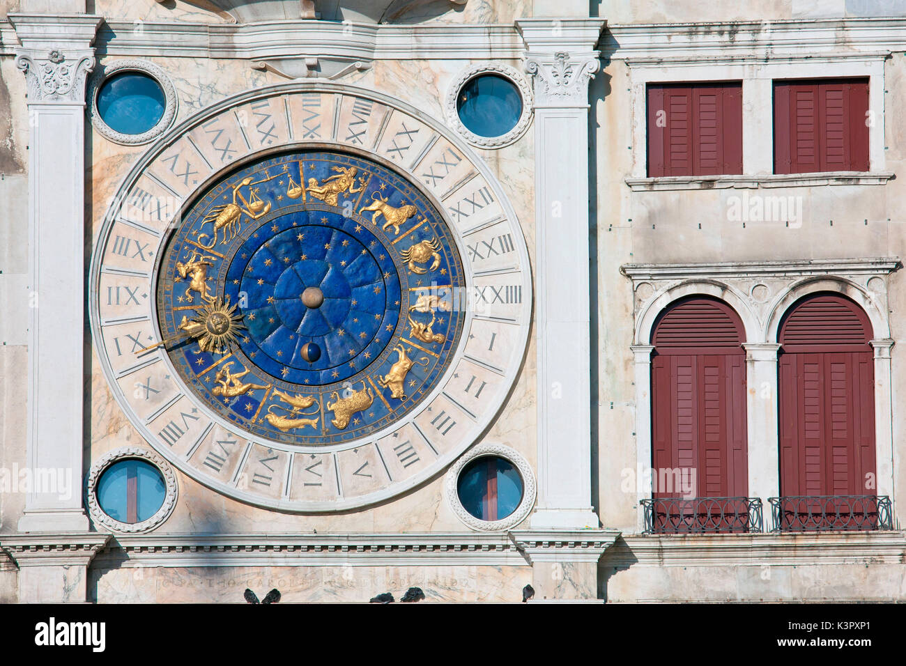 A detail of the famous Clock Tower, one of the most significant Renaissance buildings in Venice, Veneto Italy Europe - Stock Image