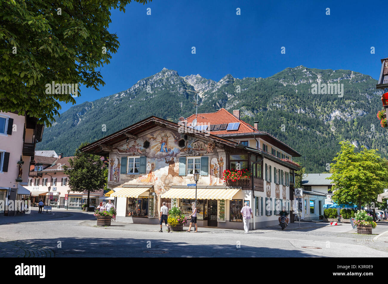 The typical hotels surrounded by peaks and woods Garmisch Partenkirchen Oberbayern region Bavaria Germany Europe - Stock Image