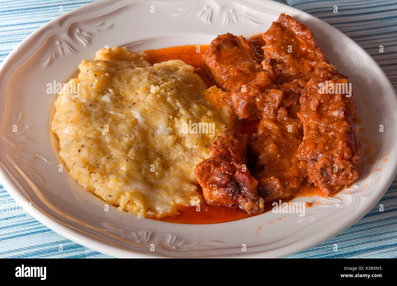 Polenta Taragna, typical of Valtellina, and its dark color, due to the use of buckwheat flour (mixed with cornmeal), - Stock Image