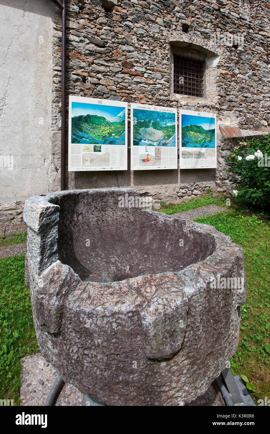 The small museum, set in the sacristies of the S.Abbondio Church, displaying the ancient findings of the village called Piuro, that was buried in 1918 by a landslide - Piuro, Valchiavenna, Lombardy Italy Europe - Stock Image