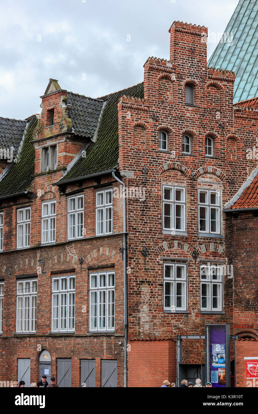 Typical buildings and architecture of Gothic style Lübeck Schleswig Holstein Germany Europe - Stock Image
