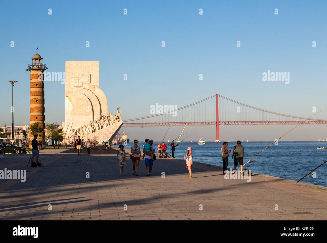 Padrão dos Descobrimentos also known as Monument to the Discoveries on bank of Tagus River Belem Lisbon Portugal Europe - Stock Image