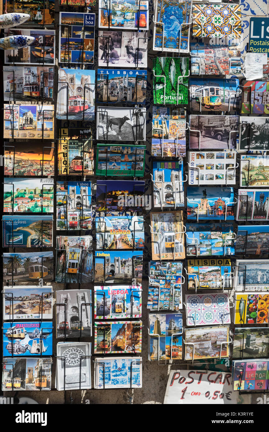 Colorful postcards of Lisbon and Portugal Europe - Stock Image