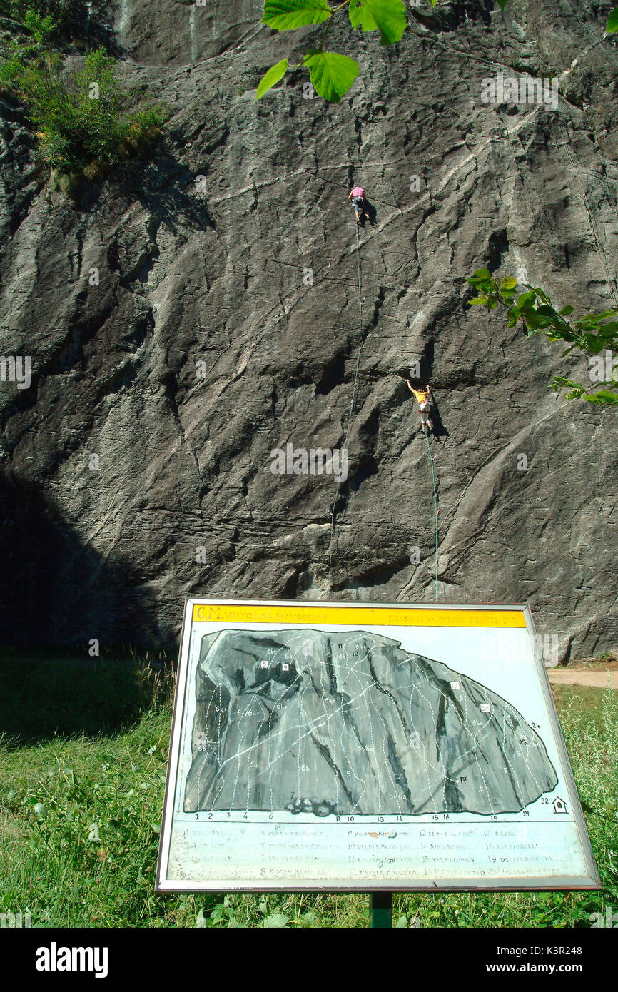 Panels illustrate the climbers about climbing routes plotted on Sasso Remenno boulder known to rock climbers from Stock Photo