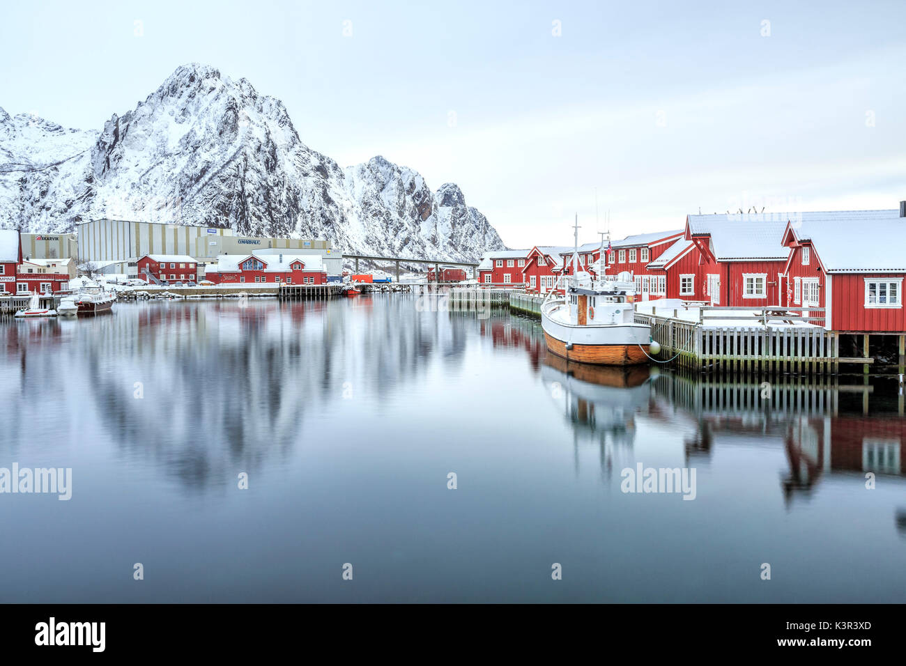 Port of Svollvaer with its characteristic houses on stilts. Lofoten Islands. Norway. Europe - Stock Image