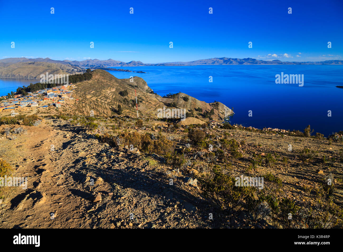 Isla del Sol on the Bolivian Side of Lake Titicaca, Bolivia, South America - Stock Image
