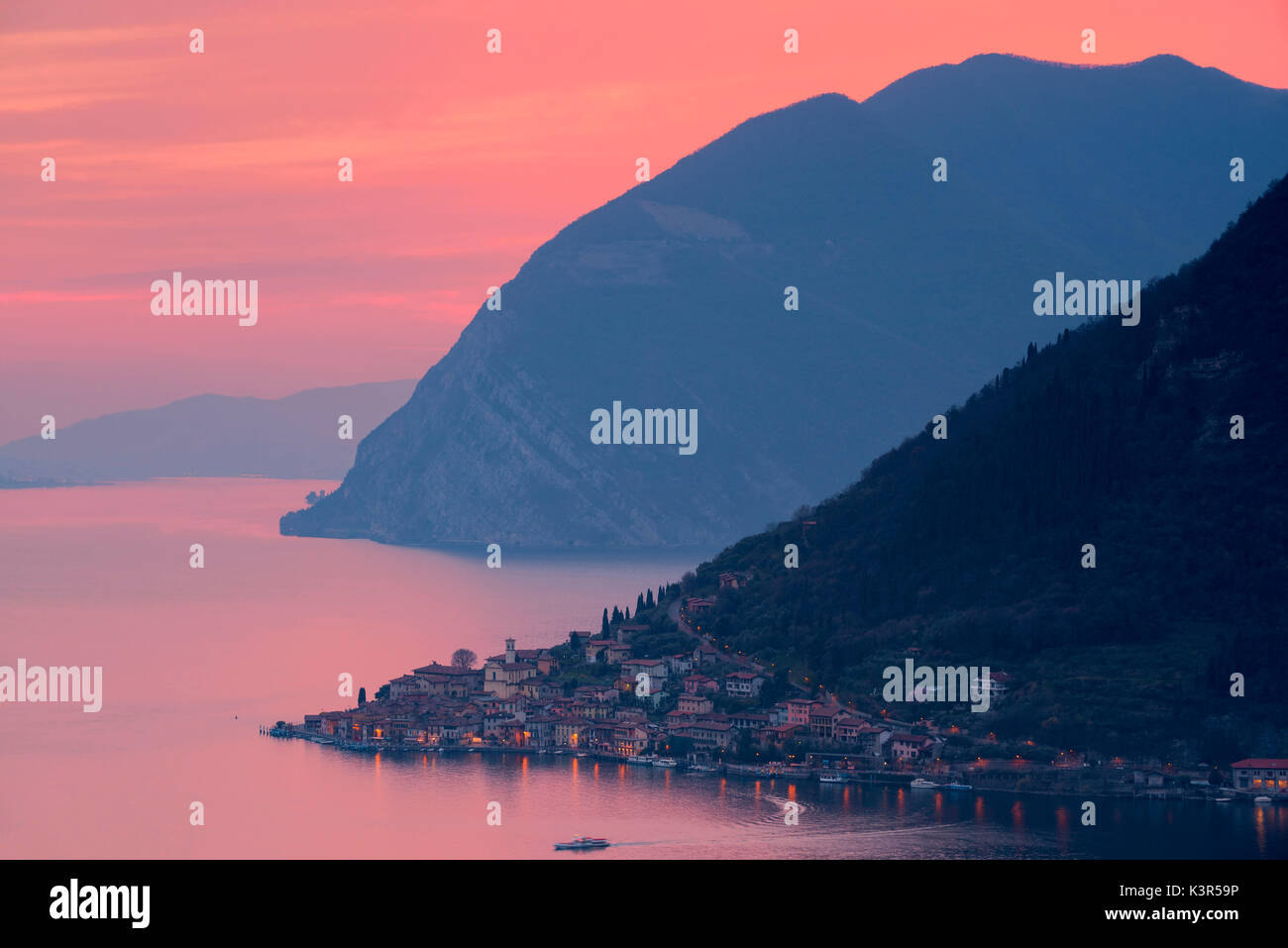 Sunset over Iseo lake, Brescia province, Italy, Lombardy district, Europe. - Stock Image