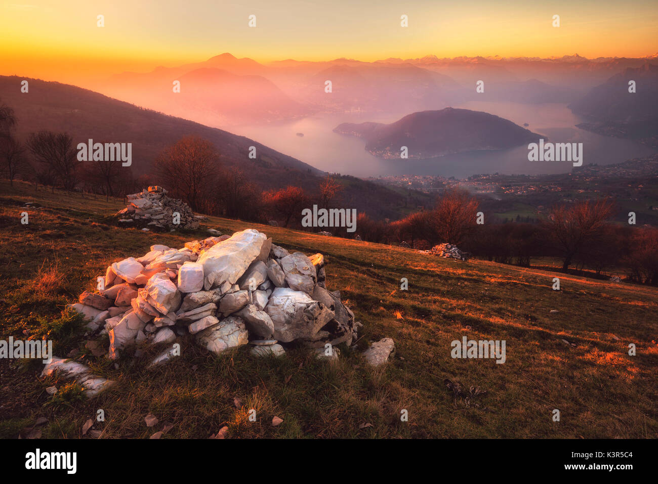 Iseo lake at sunset, Brescia province, Italy, Lombardy district. - Stock Image