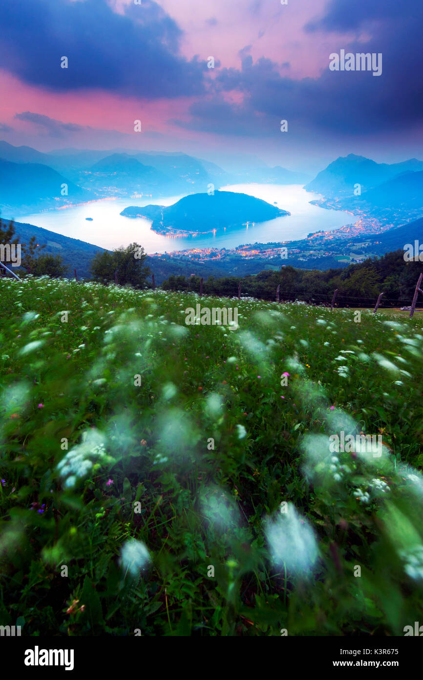 Monte Isola at blue hour from Colmi of Sulzano, Lake Iseo , province of Brescia , Italy - Stock Image
