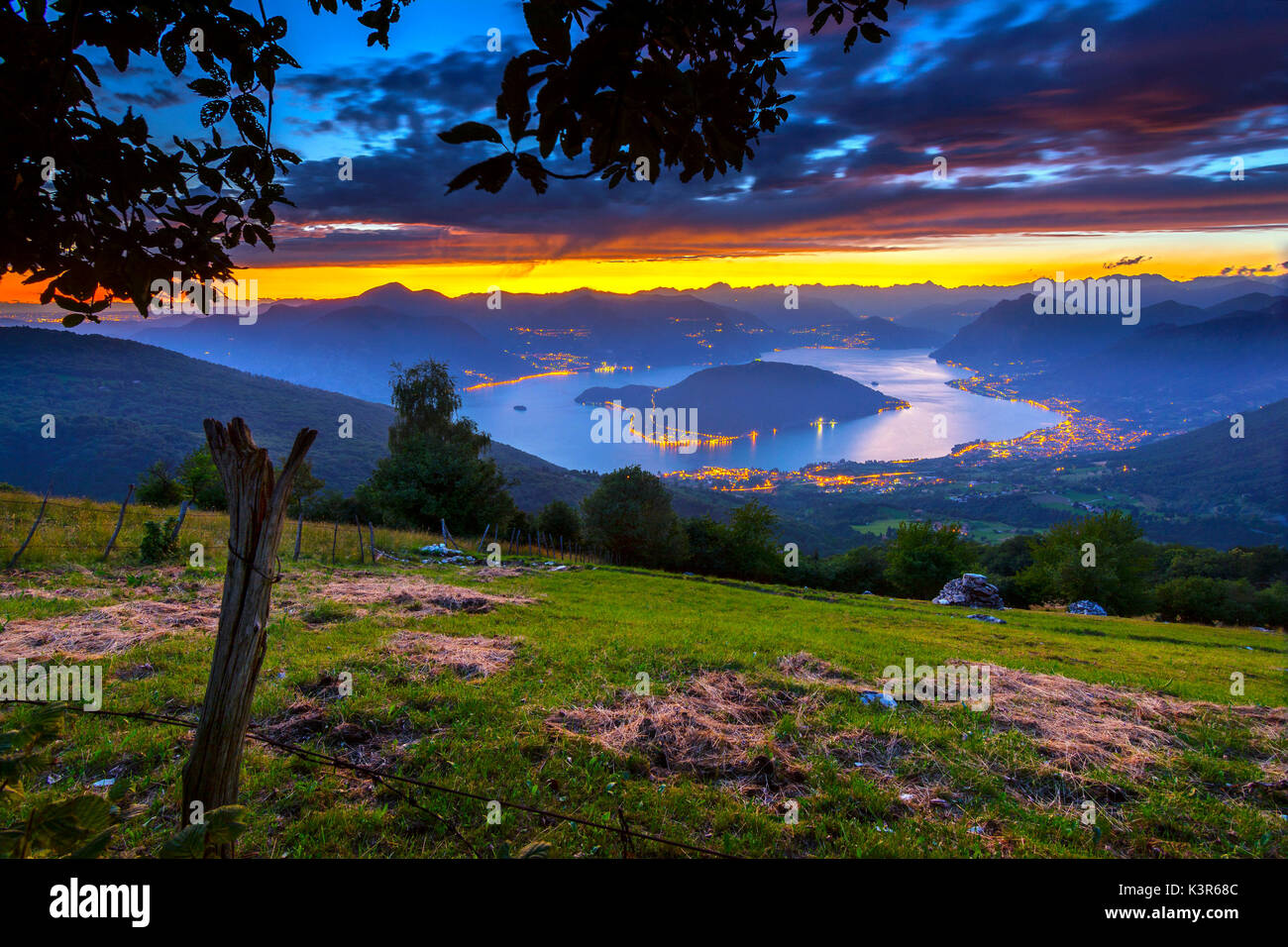 Lake Iseo and Monte Isola blue hour, the province of Brescia Italy Stock Photo