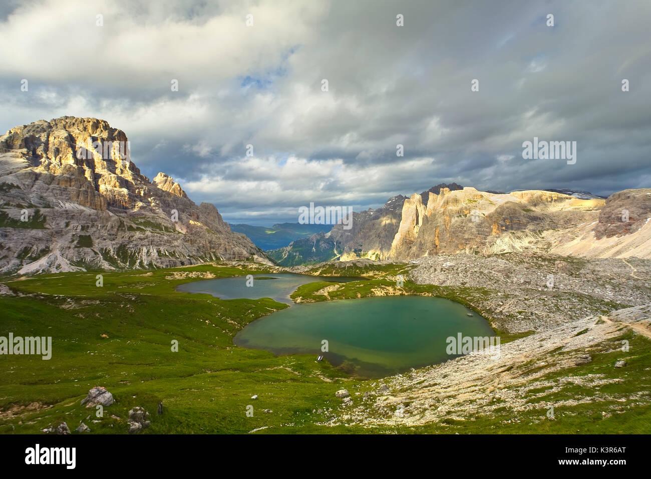 Dolomites, Trentino alto Adige, Italy. Sunset at Ref. Locatelli - Stock Image