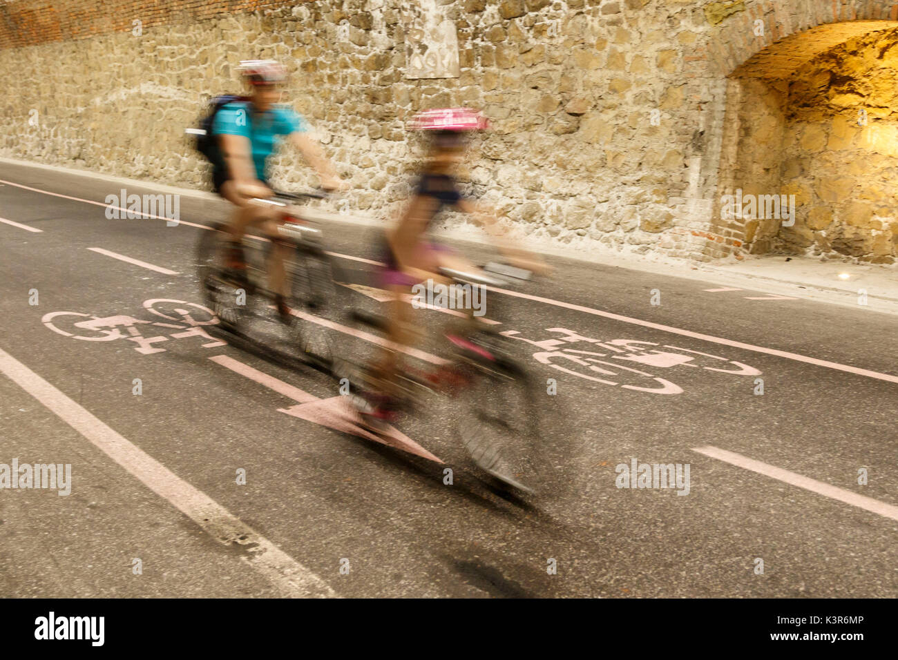 Liguria, Italy. Cycling Riviera cycleway - Stock Image