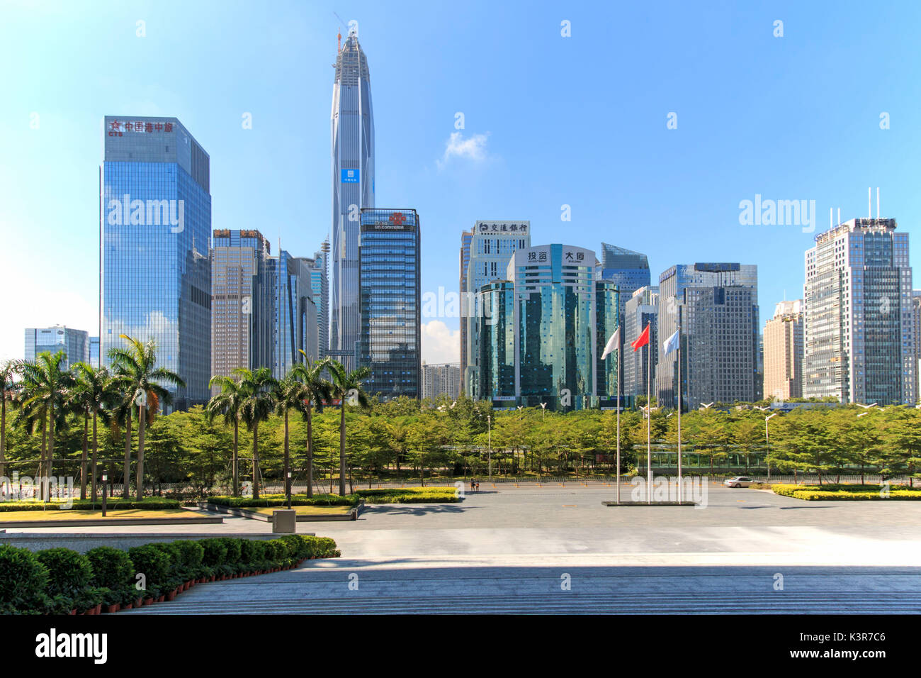 Shenzhen skyline as seen from the Stock Exchange building with the KK100, the second tallest building of the city, on background, China - Stock Image