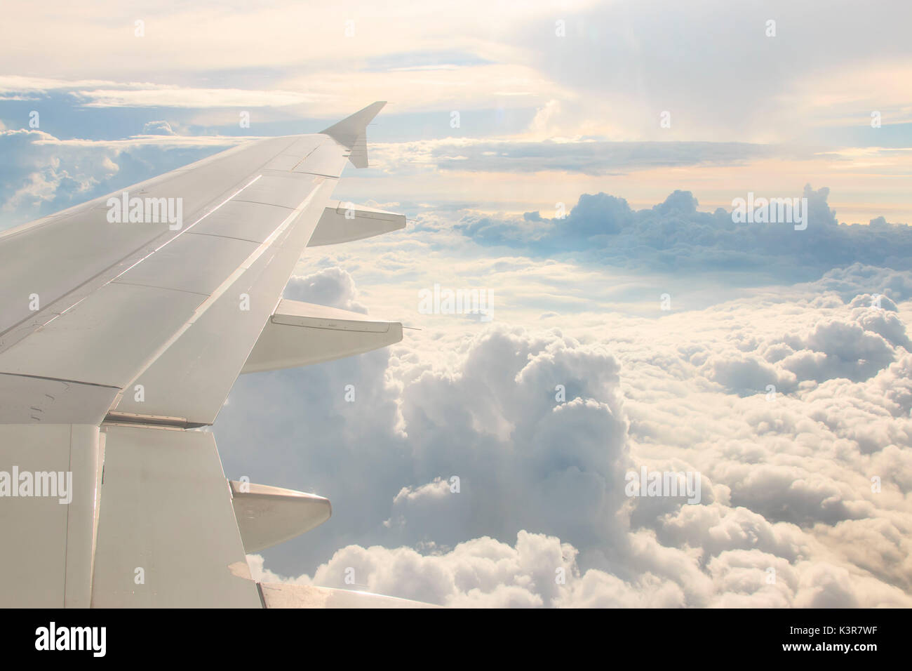 Looking through the window aircraft during the flight, Philippines - Stock Image