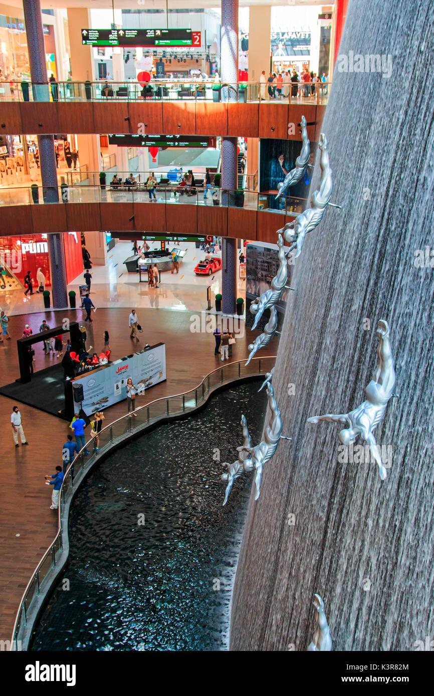Dubai, United Arab Emirates. Waterfall in Dubai Mall, world's largest shopping mall based on total area - Stock Image