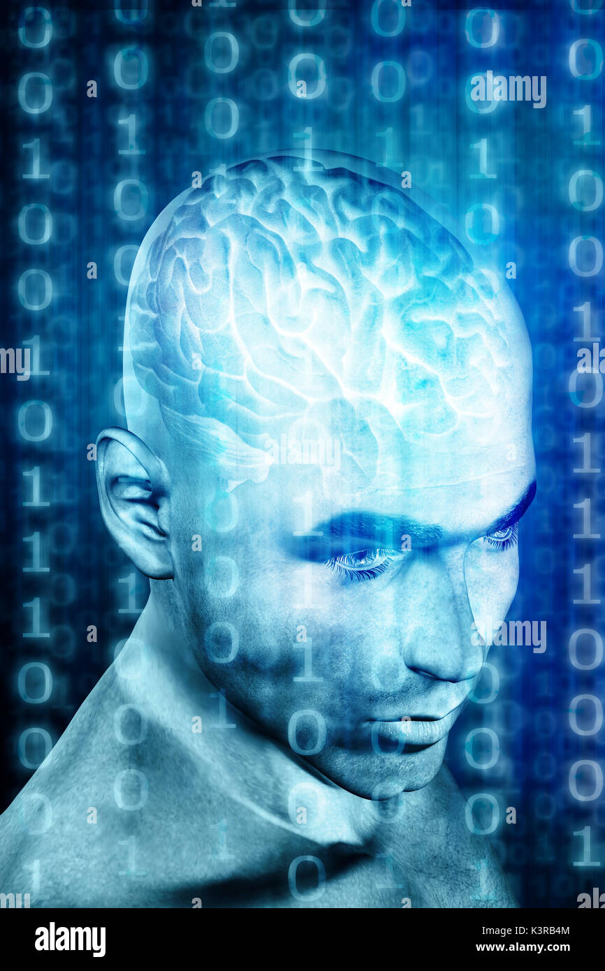humanoid head showing brain and binary digits - Stock Image