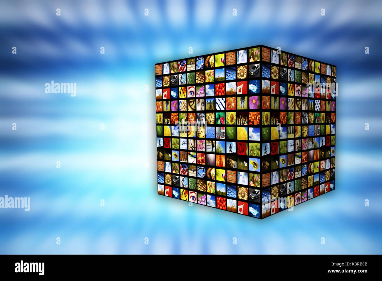 cube with many screens, internet and media concept - Stock Image