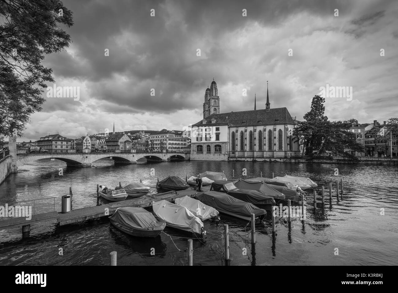 Zurich, Switzerland - May 24, 2016: Architecture of Zurich in overcast rainy weather, the largest city in Switzerland and the capital of the canton of - Stock Image