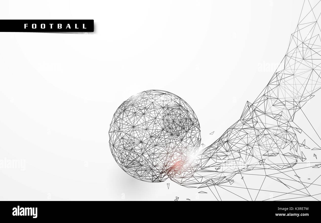 Abstract low polygon football kicking the ball wireframe mesh background - Stock Vector