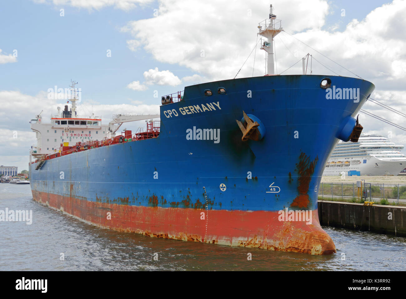 The tanker CPO Germany is located in the port of Hamburg. - Stock Image