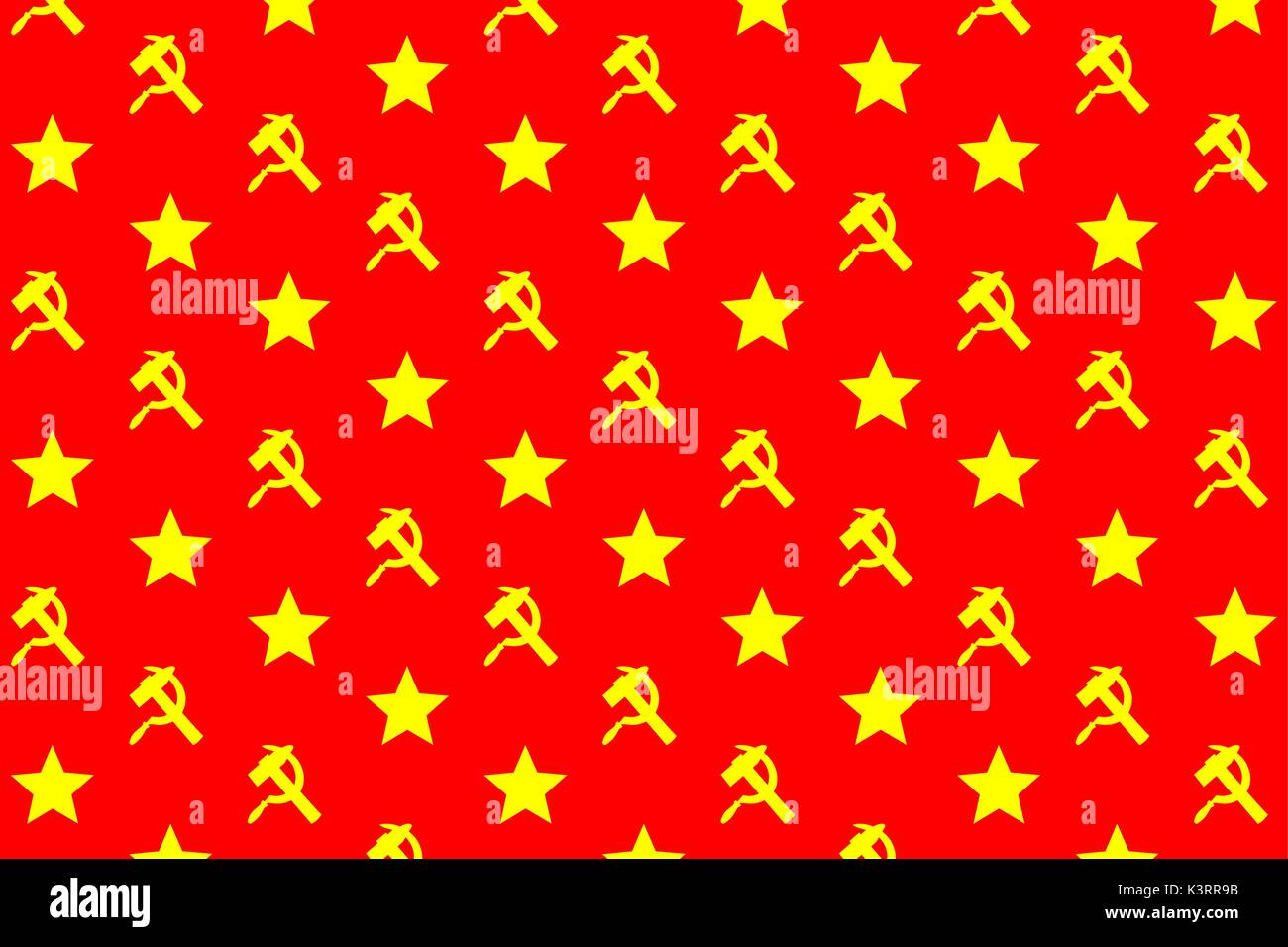 Star, sickle and hammer - yellow symbol on red background - vector pattern - Stock Vector