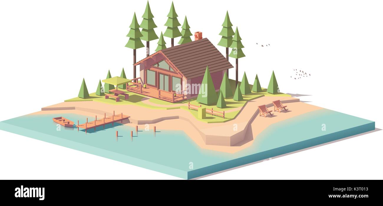 Vector low poly house in forest - Stock Vector