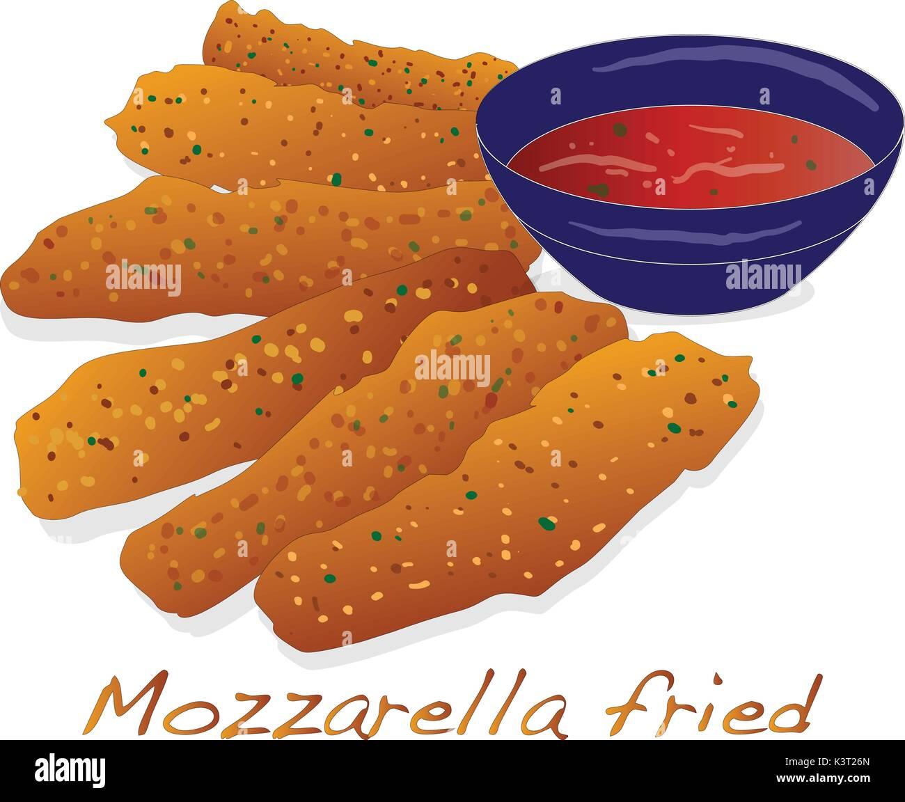 mozzarella fried illustration isolated . - Stock Vector