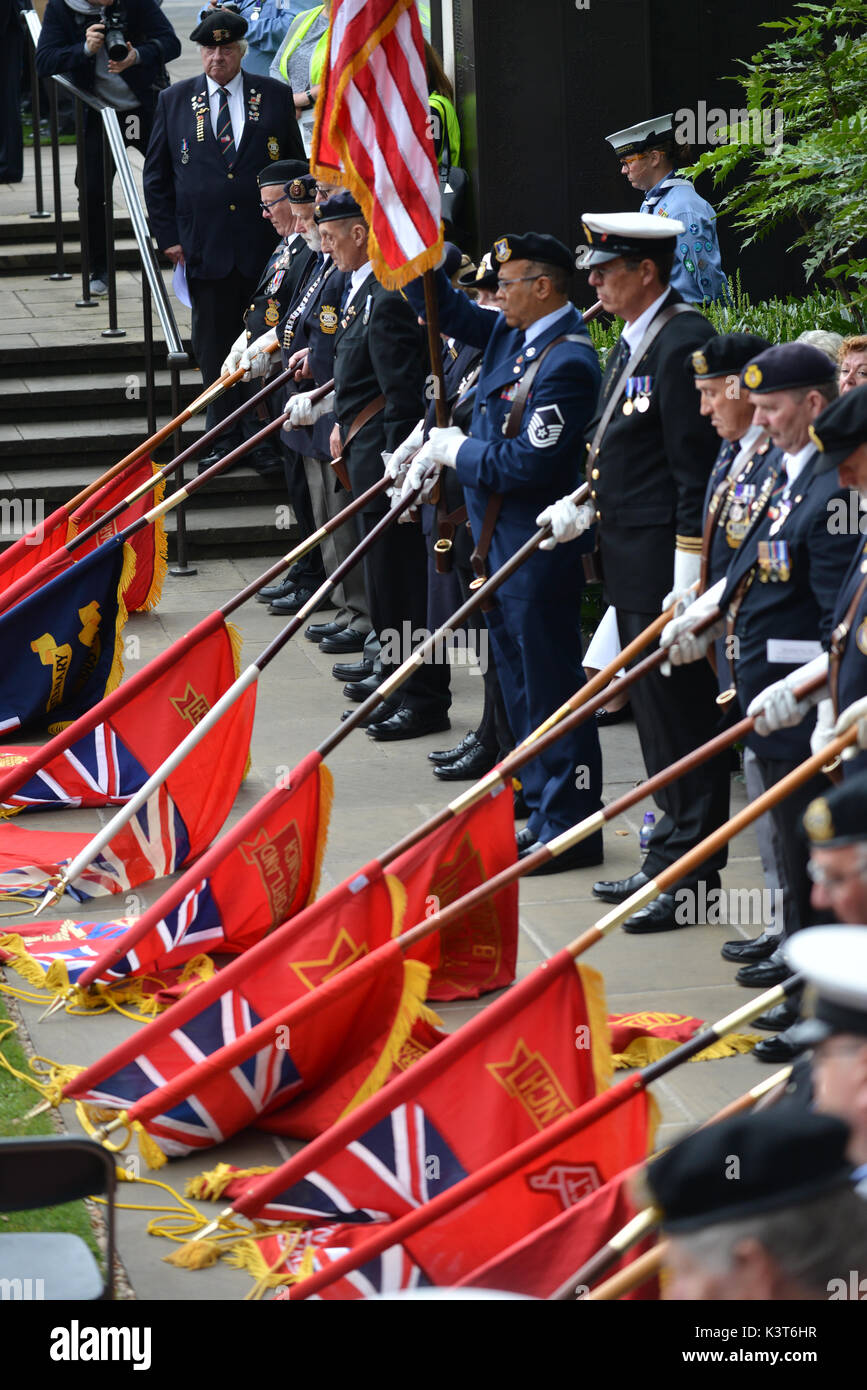 Trinity Square Gardens, London, UK.  3rd September 2017. The annual Merchant Navy Day Commemorative Service in Trinity Gardens held to remember those lost in the merchant navy. Credit: Matthew Chattle/Alamy Live News Stock Photo