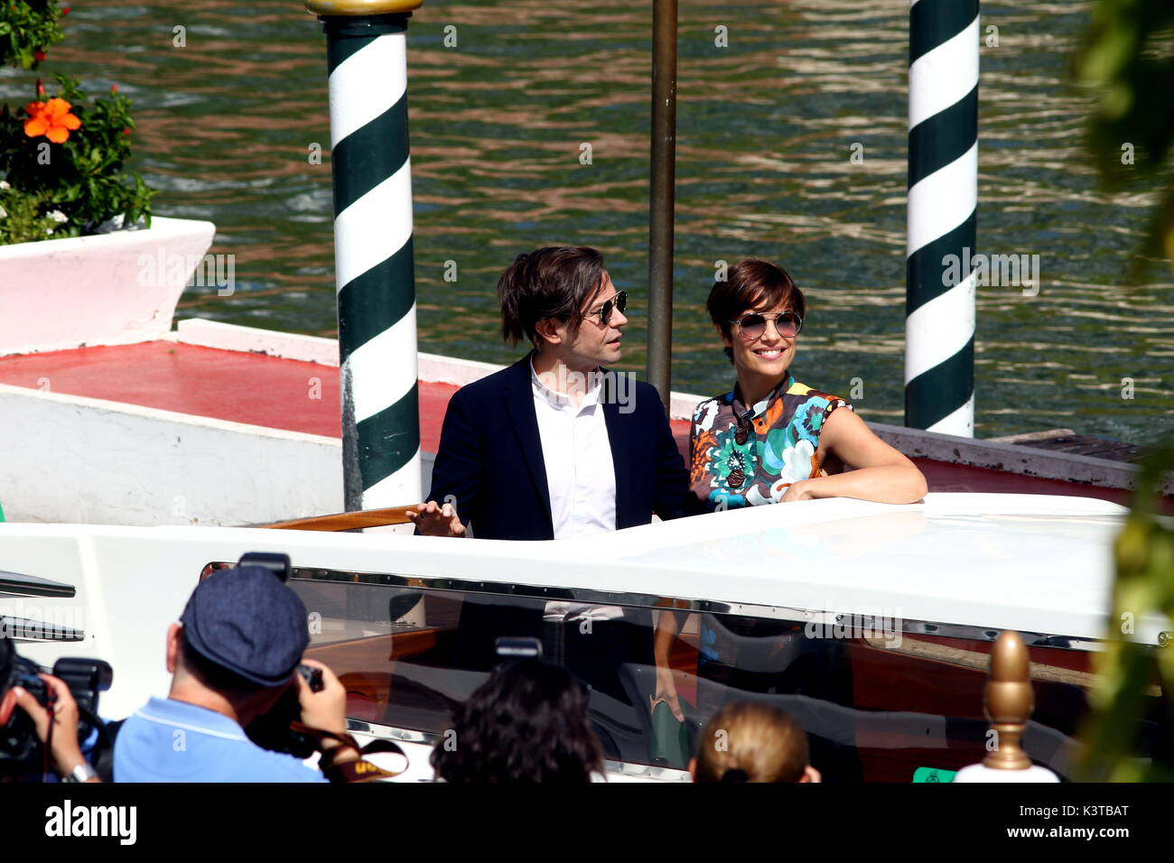 Venice, Italy. 3rd Sep, 2017. Sebastiano Riso (L) and Micaela Ramazzotti (R) is seen during the 74th Venice International Film Festival at Lido of Venice on 3th September, 2017. Credit: Andrea Spinelli/Alamy Live News - Stock Image