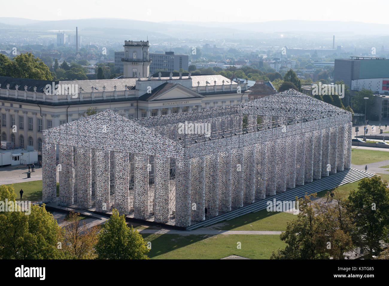 View of the finalized documenta artwork 'The Parthenon of Books' in Kassel, Germany, 4 September 2017. The reconstruction of the Parthenon temple by Argentinian artist Marta Minujin is one of the biggest projects of the documenta. The documenta 14 in Kassel continues until 17 September 2017. Photo: Swen Pförtner/dpa - Stock Image