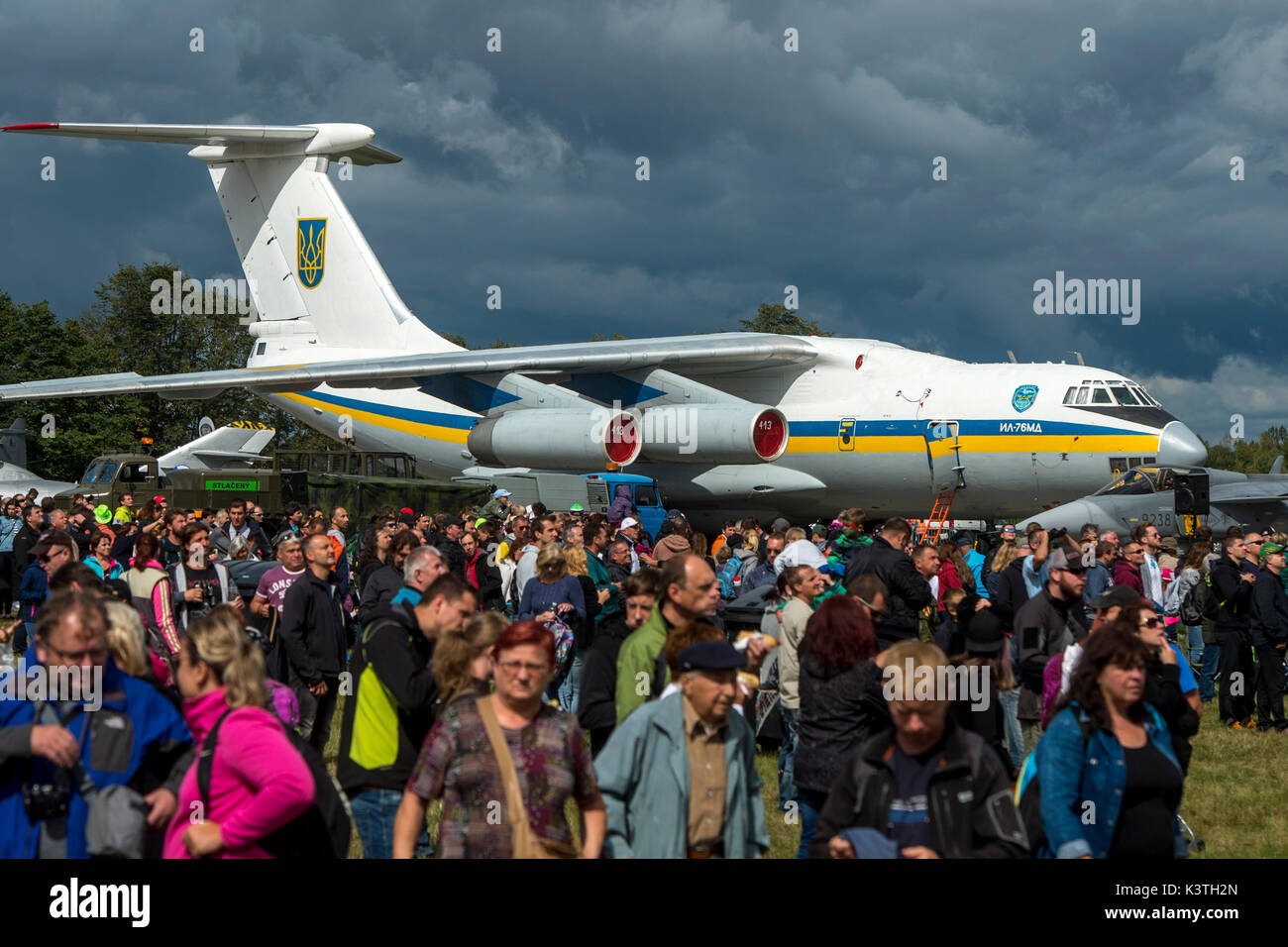 Hradec Kralove, Czech Republic. 02nd Sep, 2017. At the former army airport in Hradec Kralove there was started two-days air show named 24th Czech International Air Fest - CIAF 2017, in Czech Republic, on September 2, 2017. On the photo is seen a strategic airlifter Ilyushin Il-76 from Ukraine. Credit: David Tanecek/CTK Photo/Alamy Live News - Stock Image