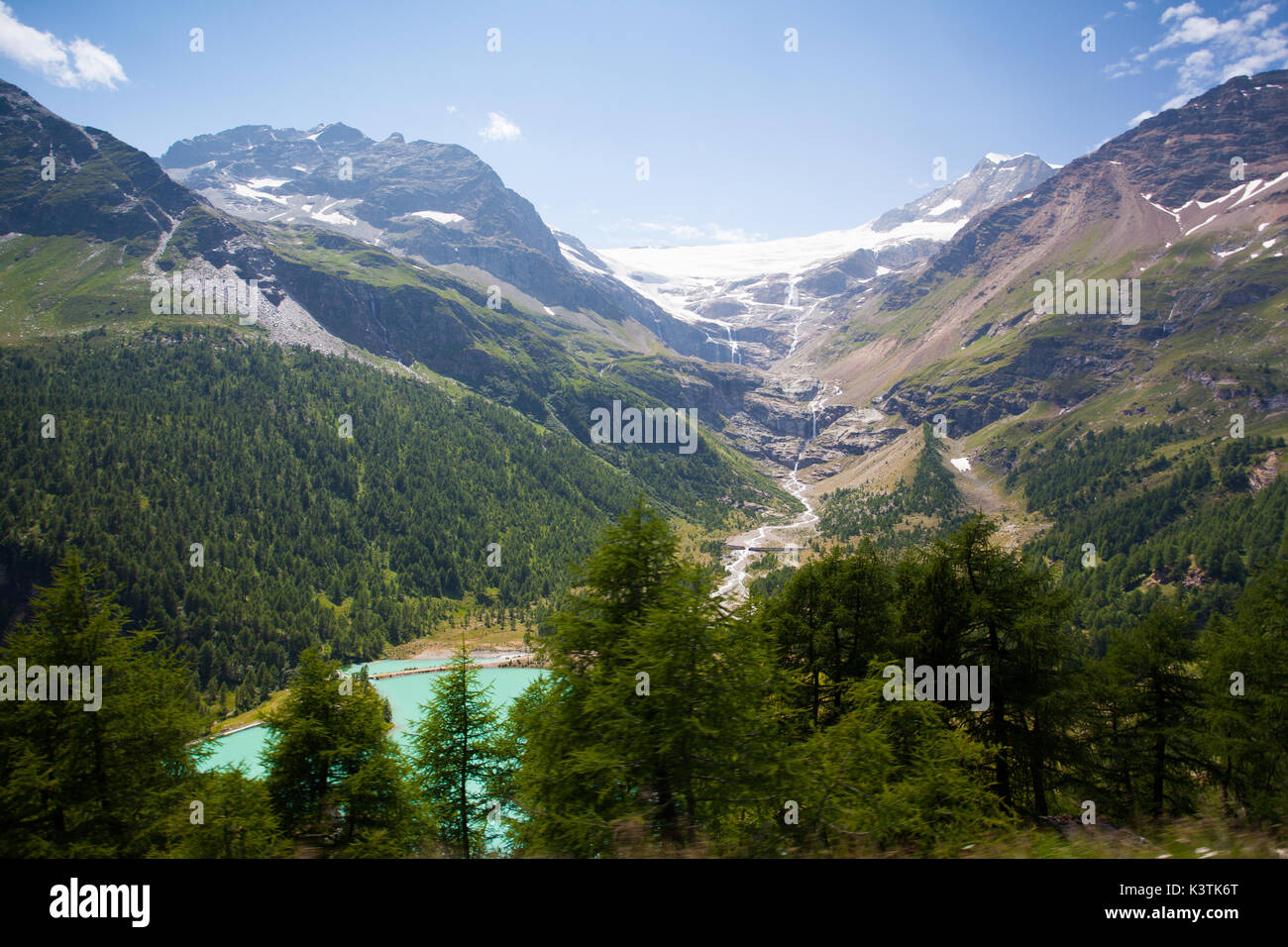 Amazing view from Alp Grum railway station between Pontresina, in the Canton of Graubunden, Switzerland - Stock Image