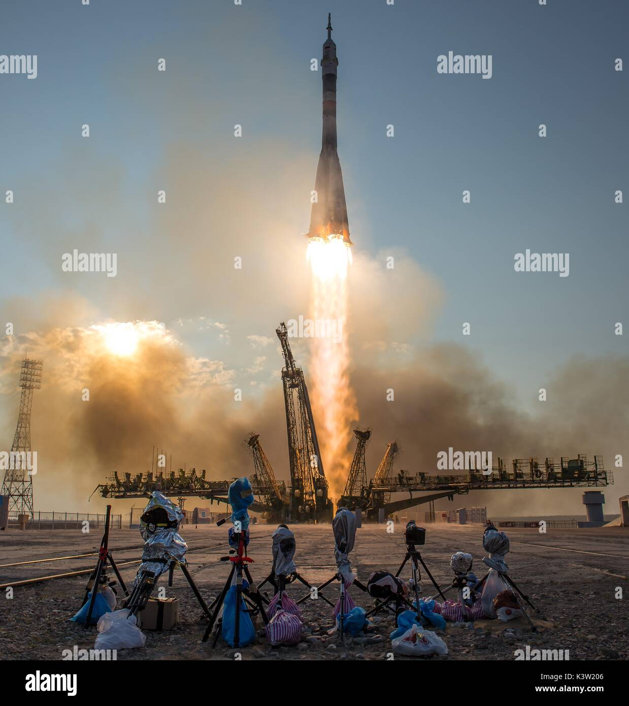 The NASA International Space Station Expedition 48/49 Soyuz MS-01 spacecraft launches from the Baikonur Cosmodrome July 7, 2016 in Baikonur, Kazakhstan.  (photo by Bill Ingalls via Planetpix) - Stock Image