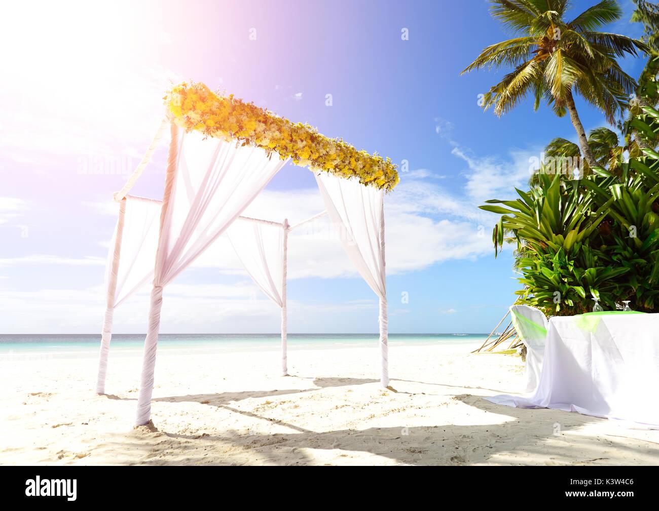 Wedding Tent At Beach - Stock Image