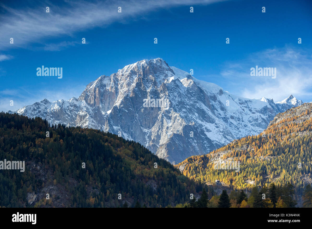 Monte Bianco at sunset, Aosta Valley, Italy, Europe - Stock Image
