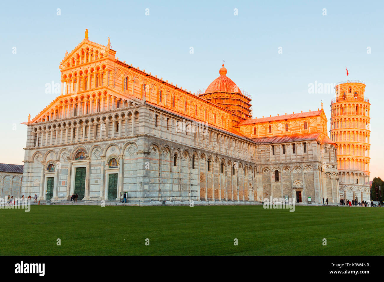 Europe,Italy,Tuscany,Pisa. Square of miracles at sunset - Stock Image