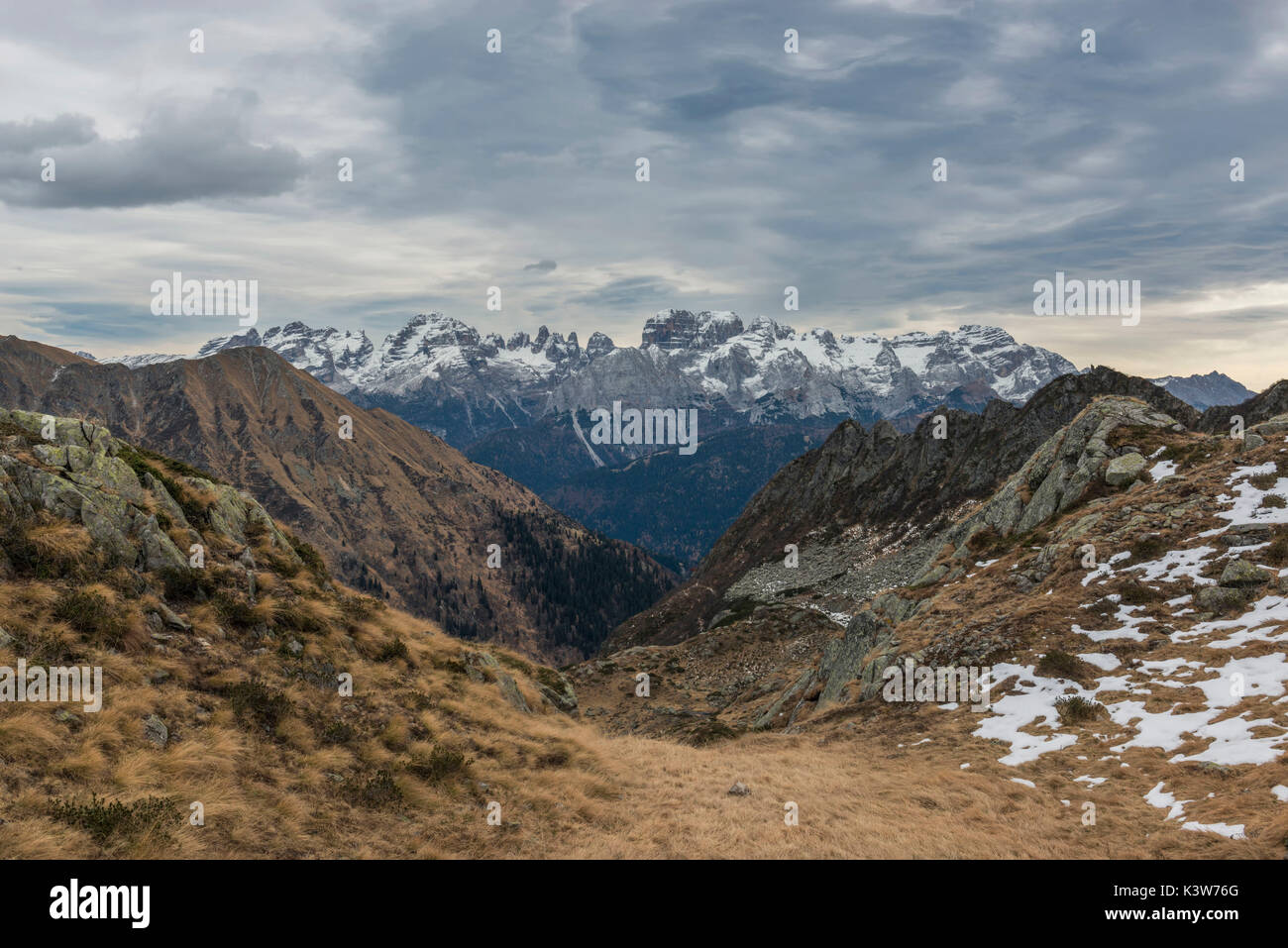 Italy, Trentino Alto Adige, Adamello Brenta Park, Brenta group view from Nambrone vally. - Stock Image