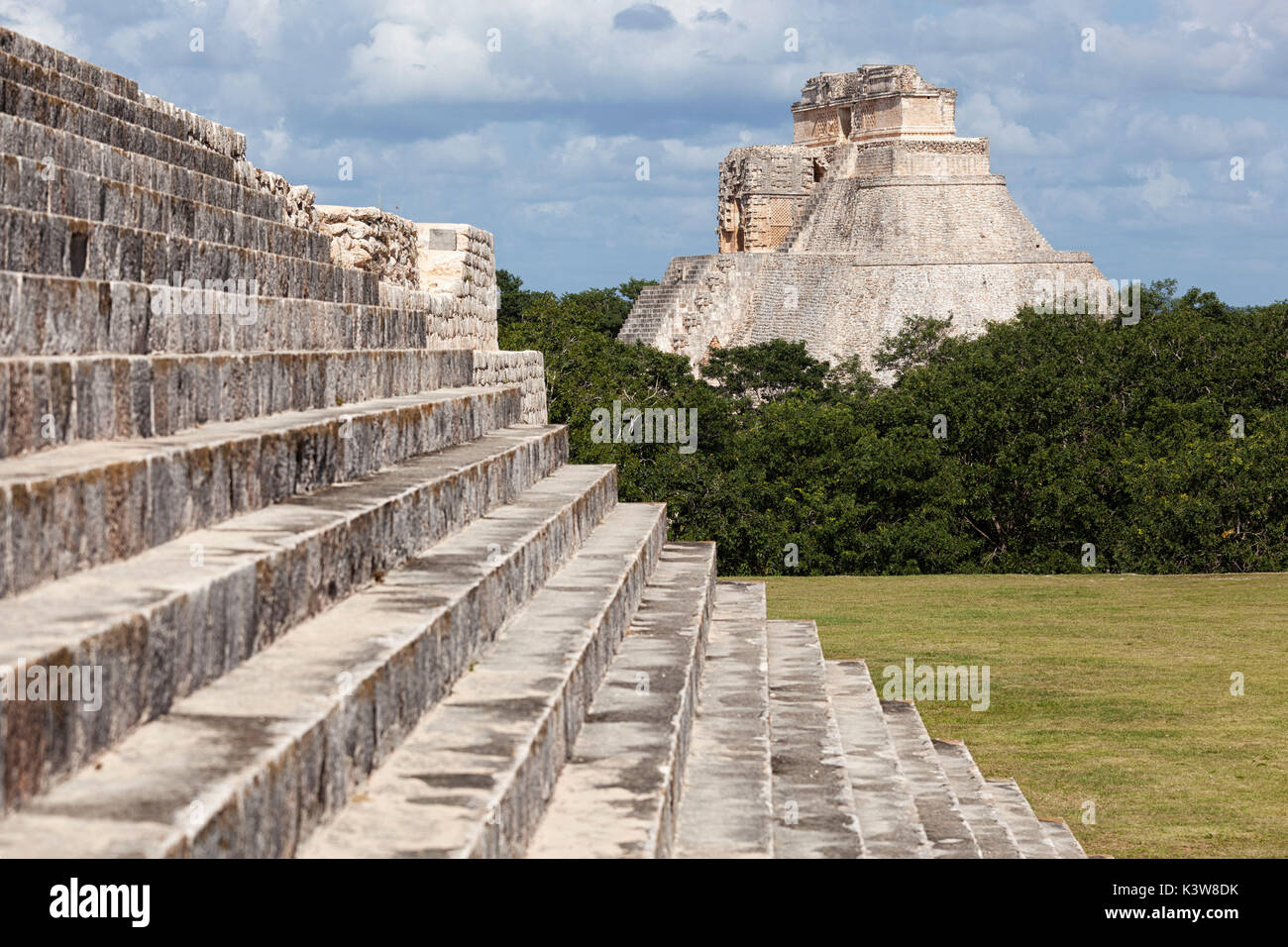 Pyramid of the Magician, Uxmal archeological site, Yucatan, Mexico. - Stock Image