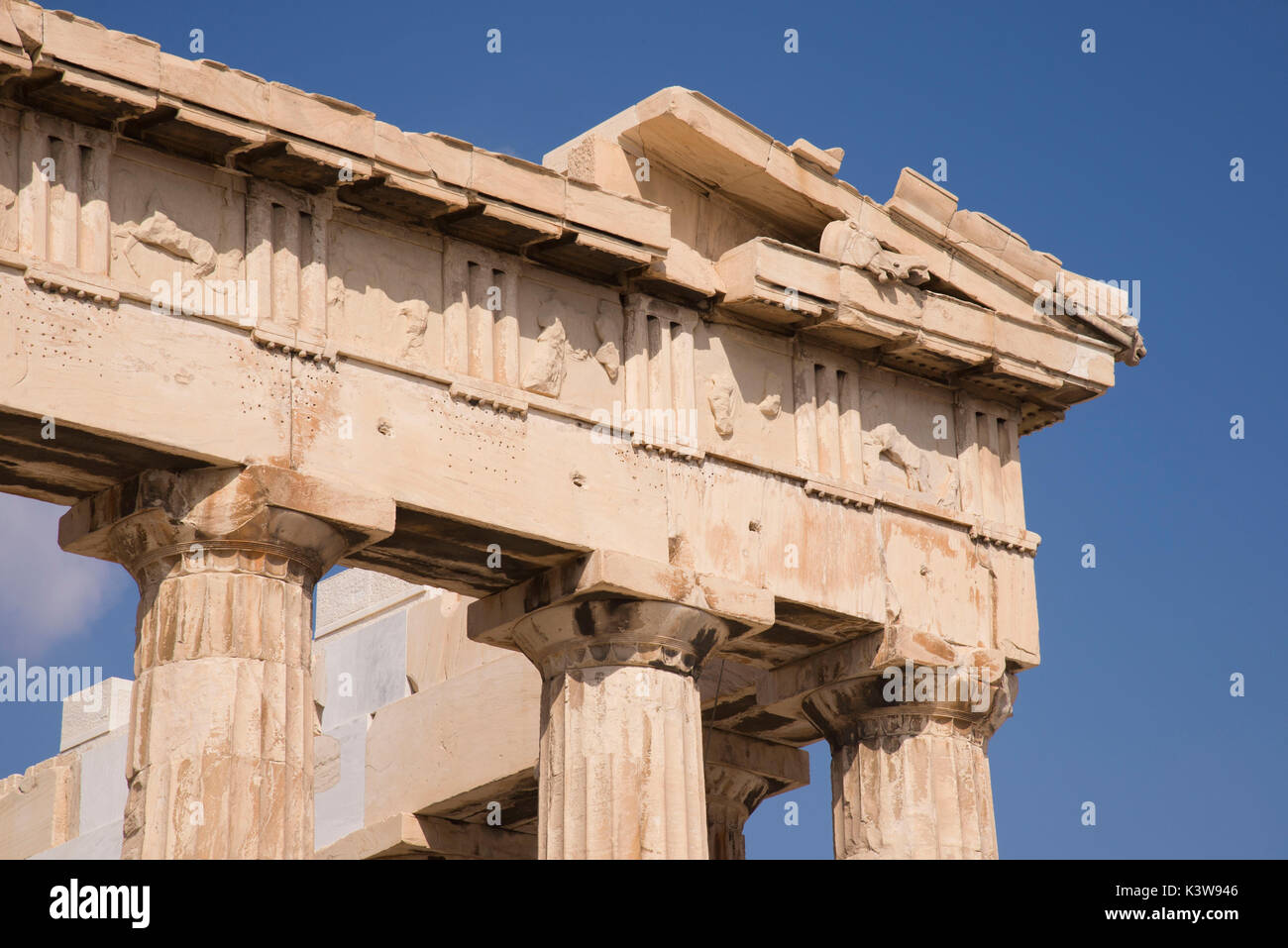 View of the Parthenon, Athens, Greece. In this point of the Parthenon there were statues and depictions of many scenes - Stock Image
